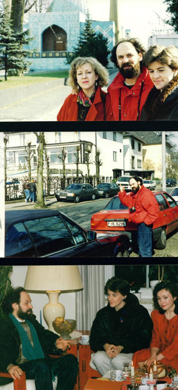 март 1989, в Гамбурге, Через Лету и обратно, вверху - с женой и Антье Фалькенгоф